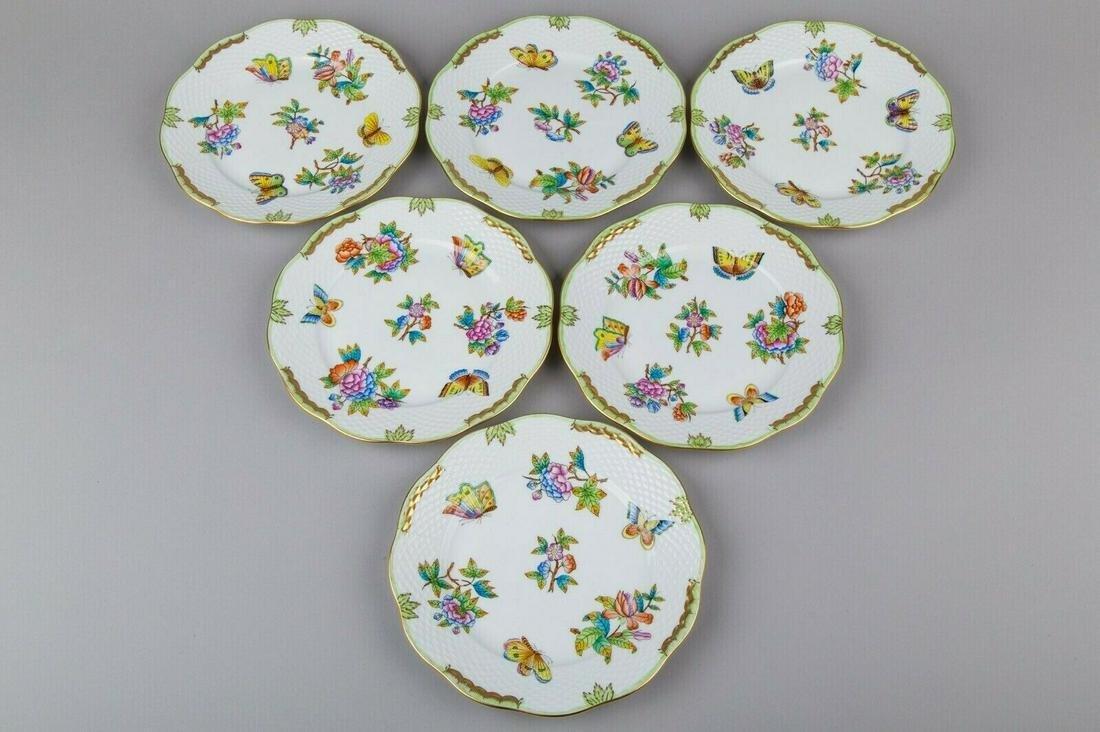 Set of Six Herend Queen Victoria Large Dessert Plates,