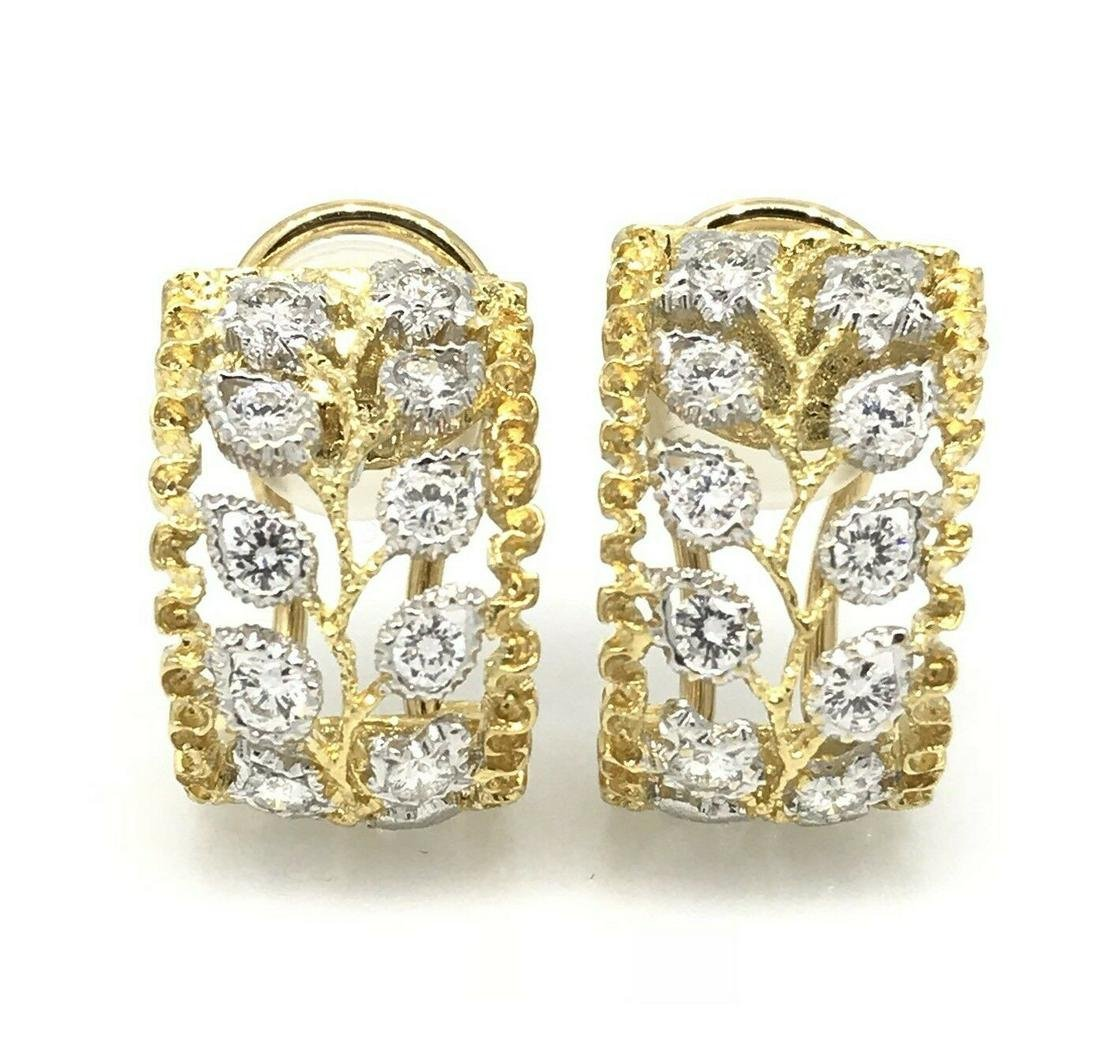 .80 ct Wide Diamond Hoop Huggie Earrings in Two-tone18k