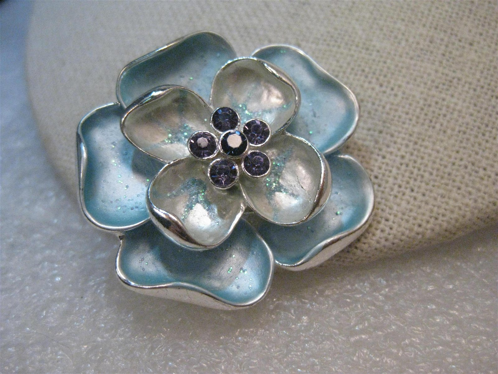 Vintage Blue Enameled Dogwood Brooch, Layered, Purple