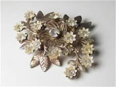 Vintage Brooch, Gold Tone White Enameled Floral