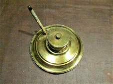 Awesome Antique Heavy Brass Inkwell W/ Mop Pen Included