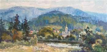 Oil painting Mountains landscape Kovalenko Ivan