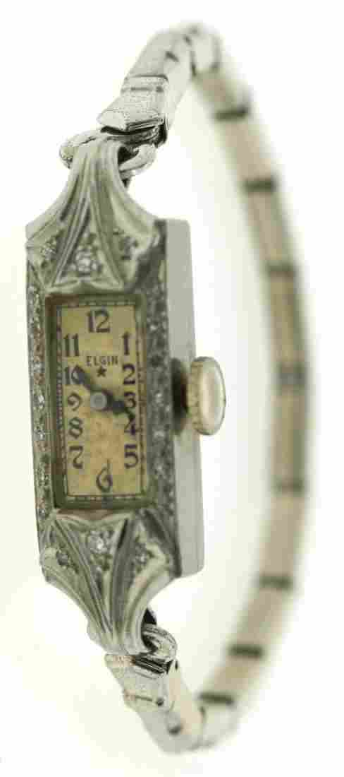 ELEGANT Elgin Platinum, Silver & Diamond Watch Circa