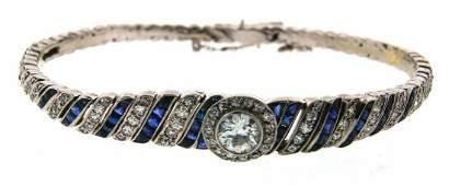 GORGEOUS Art Deco Platinum, Diamond & Sapphire Bracelet