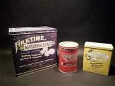 Set of 3 Advertising Tin Boxes Marshmallow Sugar
