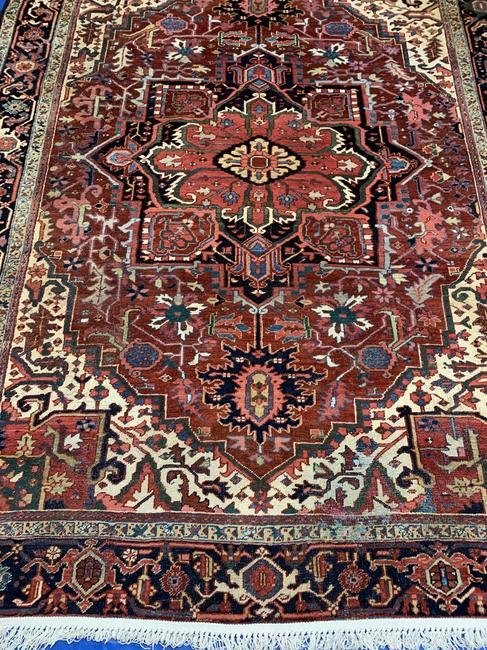 Semi Antique Hand Woven Persian Heriz 10.5x7.5