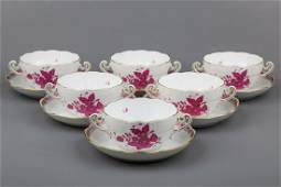 Set of Six Herend Chinese Bouquet Raspberry Cream Soup