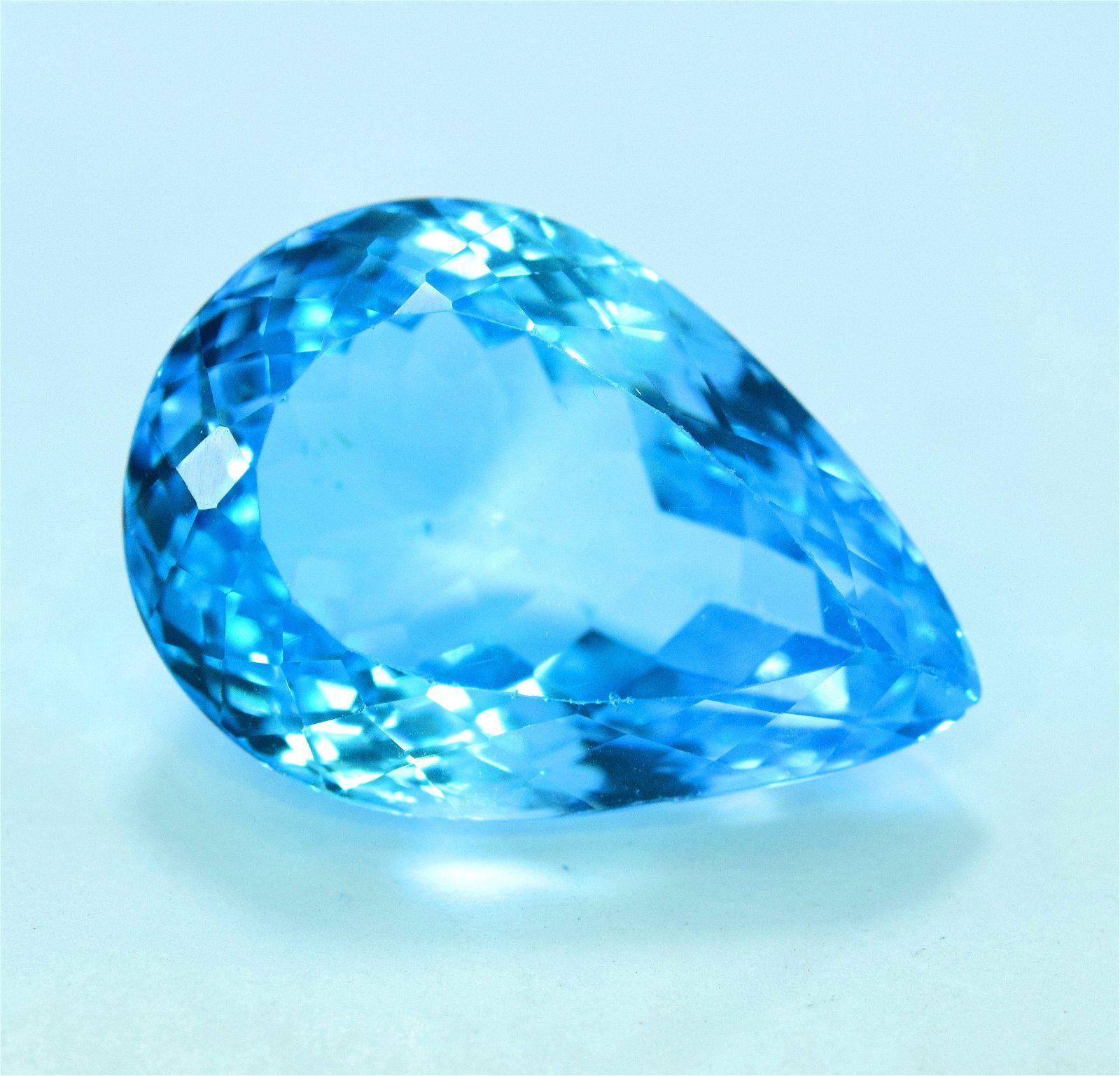 35.20 cts Stunning Electric Blue Topaz Gemstone -