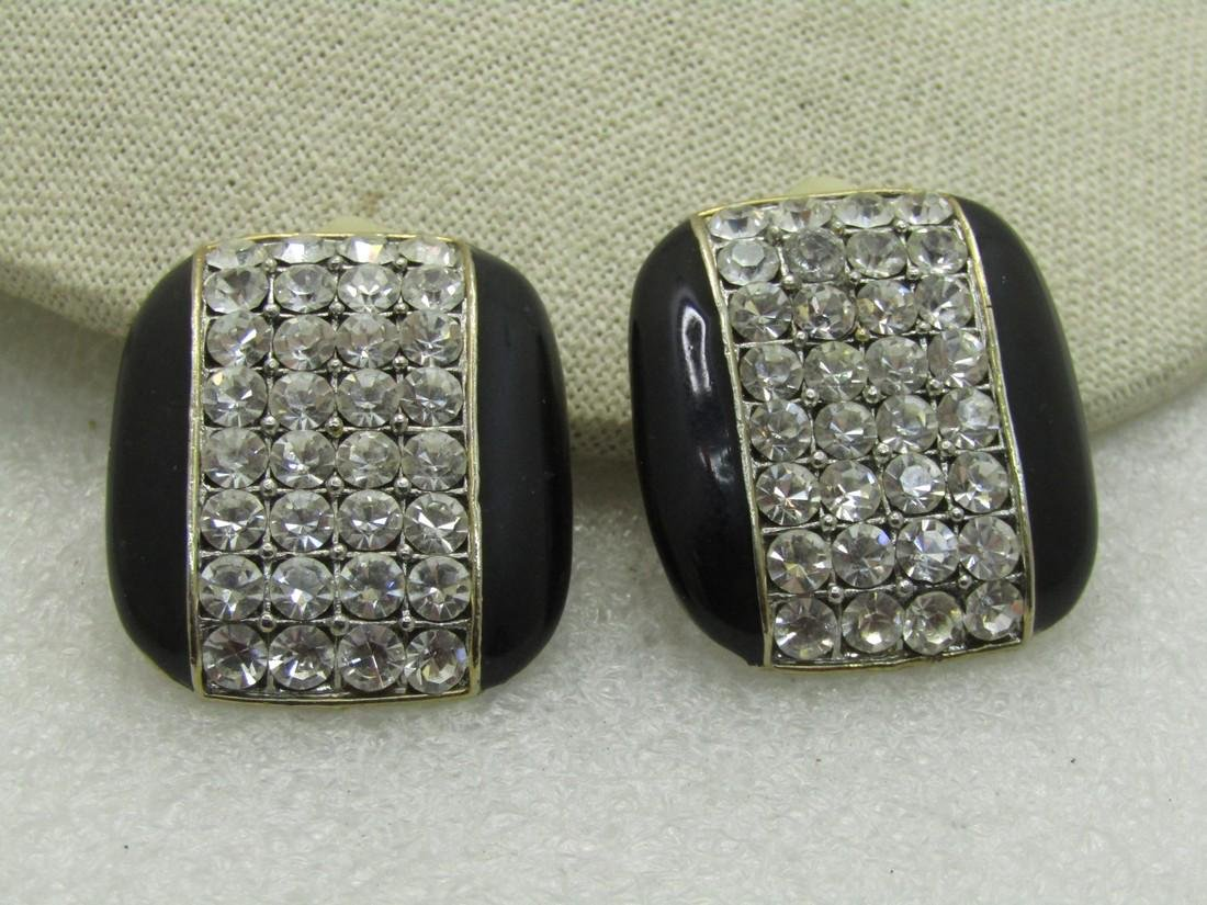 Vintage Enameled Art Deco Rhinestone Clip Earrings,