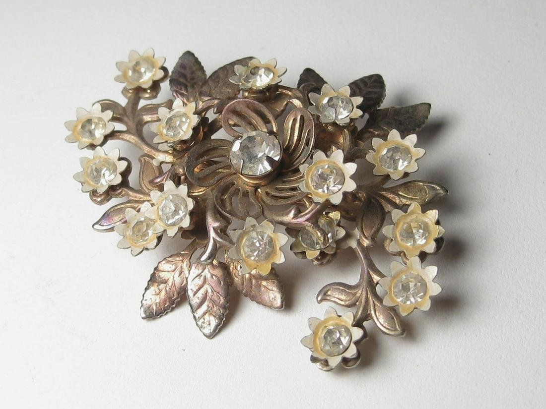 Vintage Brooch, Gold Tone White Enameled Floral