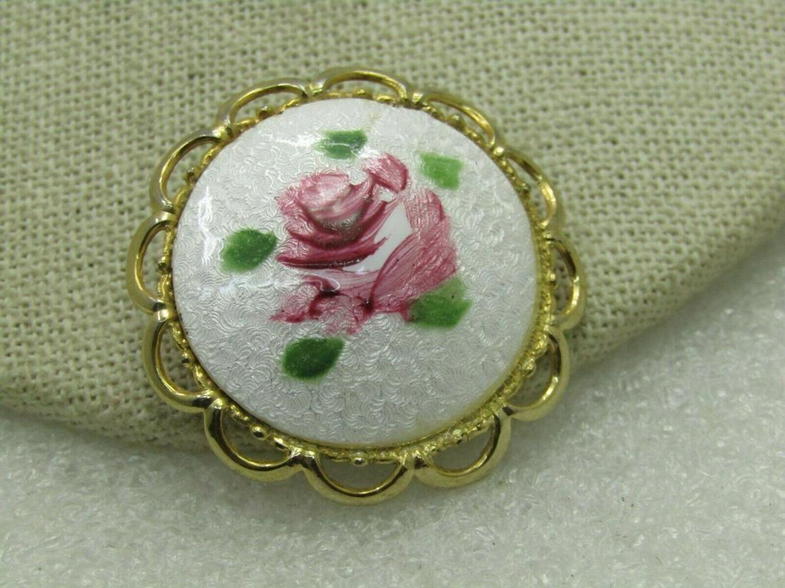 Vintage Guilloche Rose Brooch, Gold Tone, Circular,
