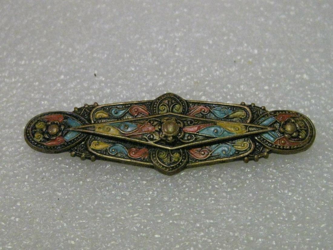 Vintage Art Deco Enamel Painted Brooch, Intricate