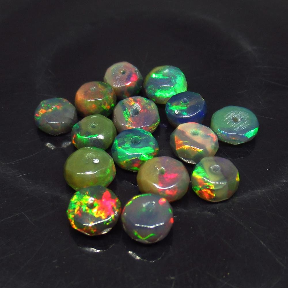 4.94 Ct Natural 15 Drilled Faceted Fire Black Opal
