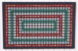 Antique Geometric Designed Hooked Rug