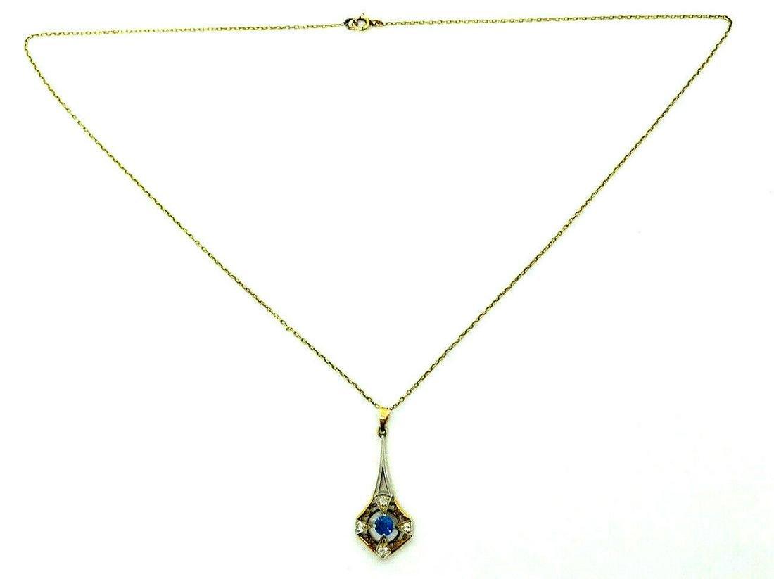 Victorian 10k Yellow Gold Chain Necklace Diamond