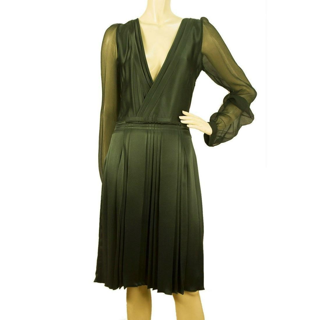 Duyan Green 100% silk Knee Length V Neck Long Sheer
