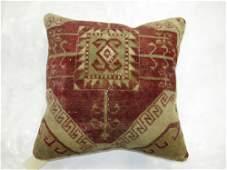 Crimson and Brown Turkish Rug Pillow