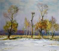 Oil painting Winter landscape Mynka Alexander