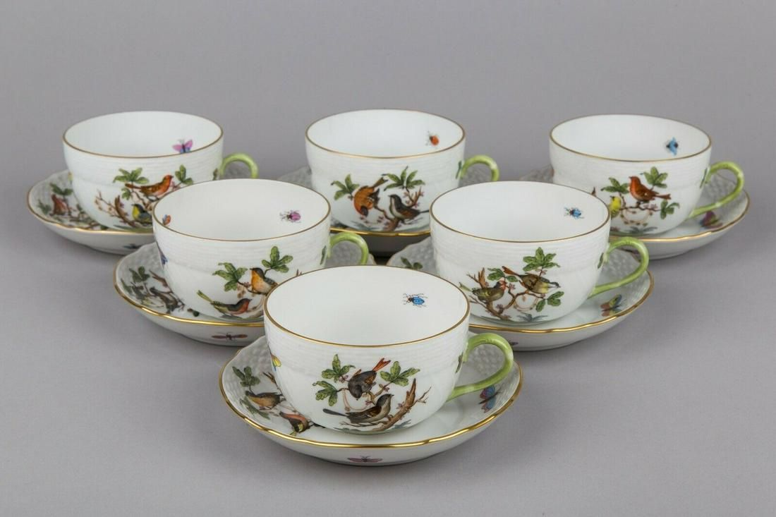 Set of Six Herend Rothschild Bird Pattern Tea Cups with