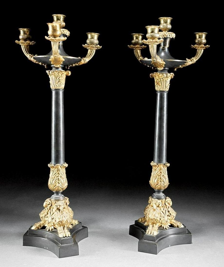Gilt and Patinated Bronze Four-Light Candelabra