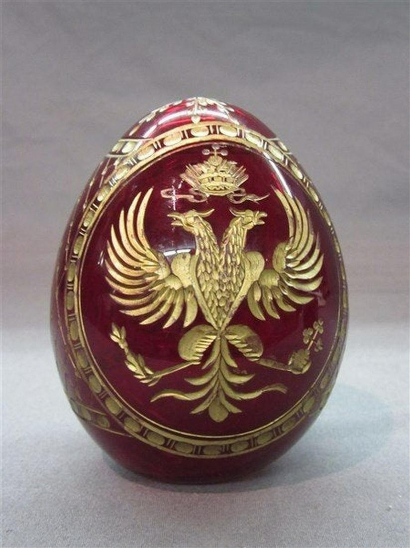 Vintage Russian Ruby Glass Egg