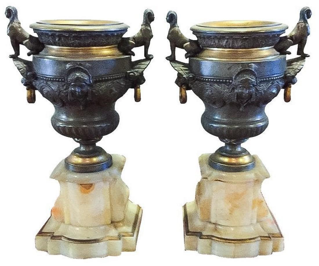 Pair of French Bronze & Onyx Urns