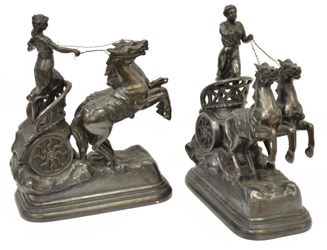 Pair of Neoclassical Style Spelter Figural Groups