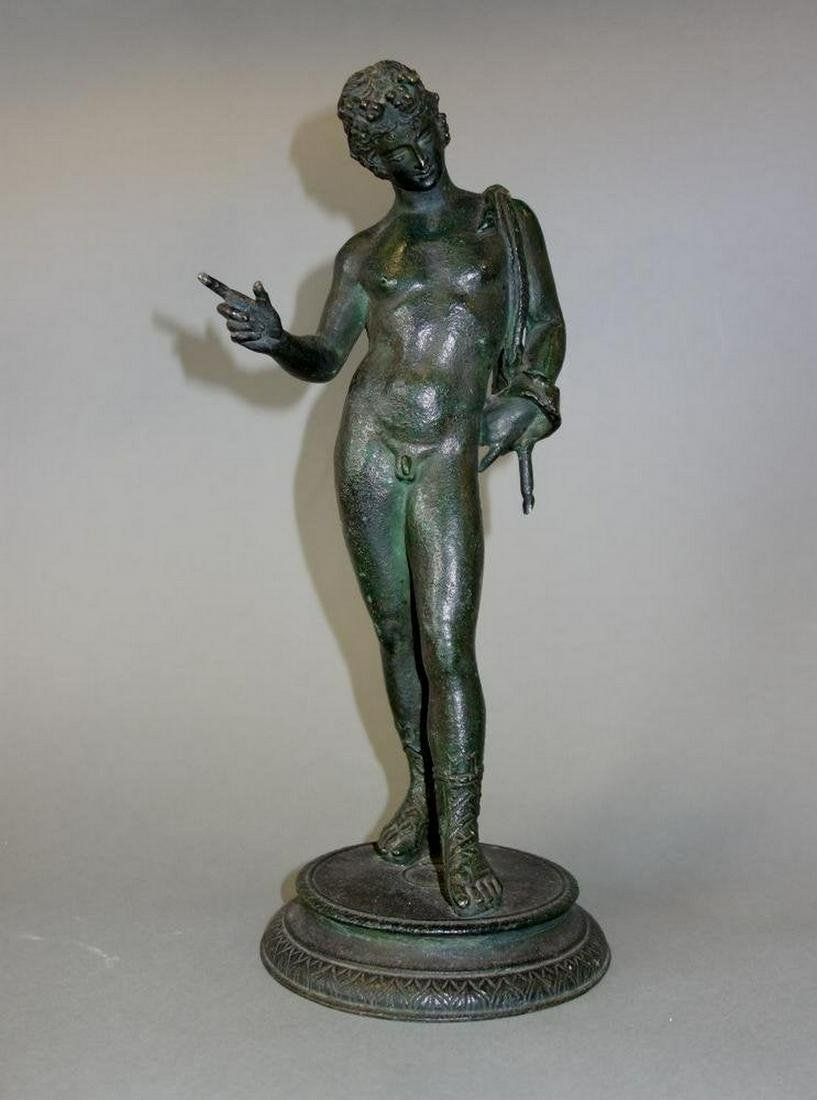 19th Century Bronze Model of Narcissus, Male Nude