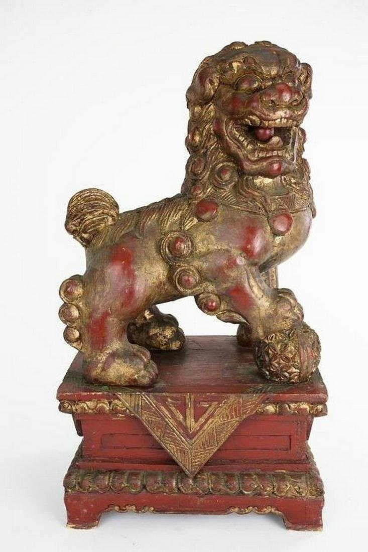 Chinese Carved Red Lacquered Foo Dog