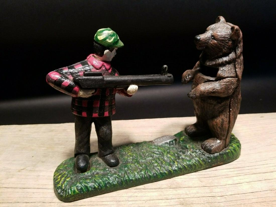 Cast Iron Bear Hunter Mechanical Coin Bank