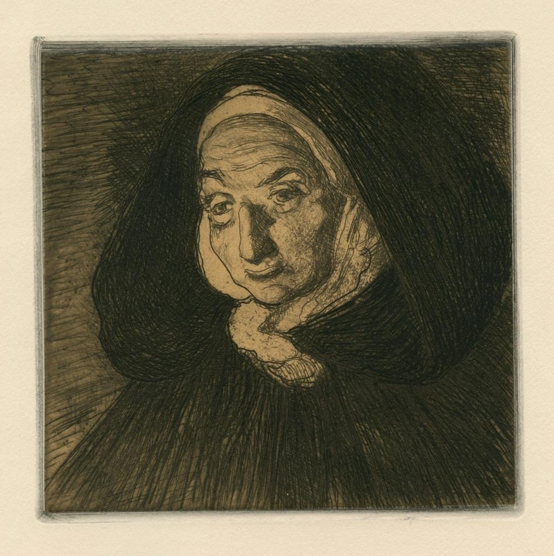 Charles Cottet original etching Bretonne | Les feux de