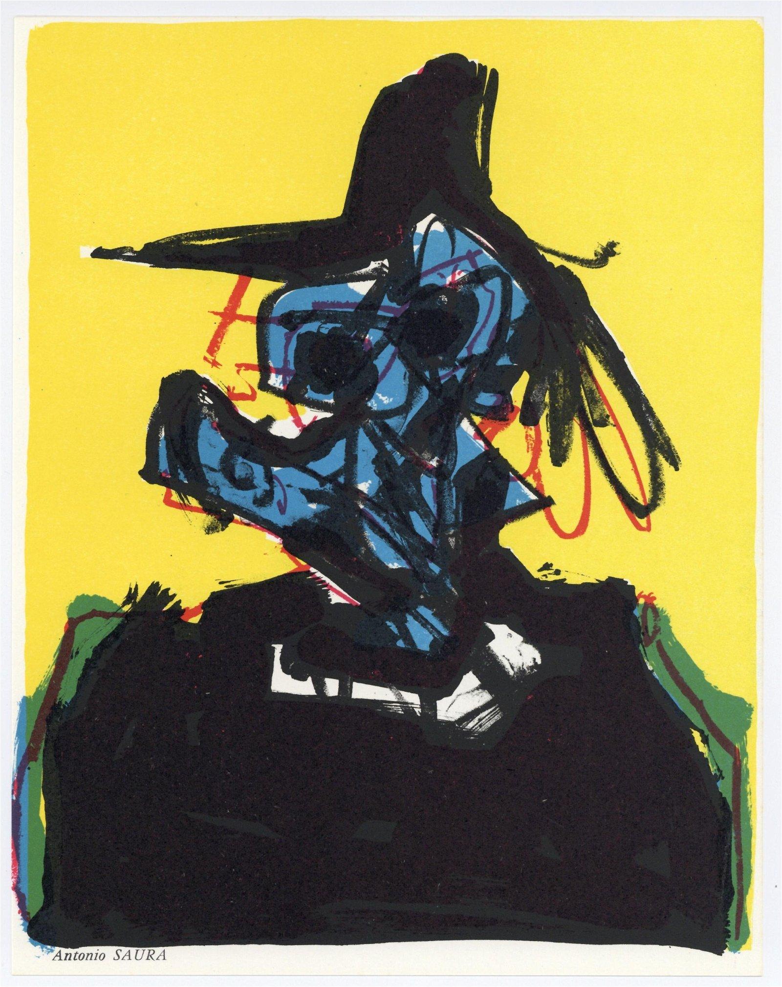 Antonio Saura Atares original lithograph, 1967