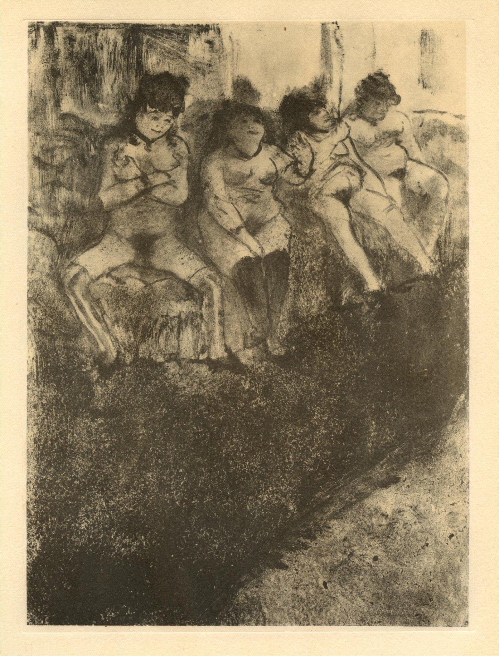 "Edgar Degas monotype ""On attend les Clients"""