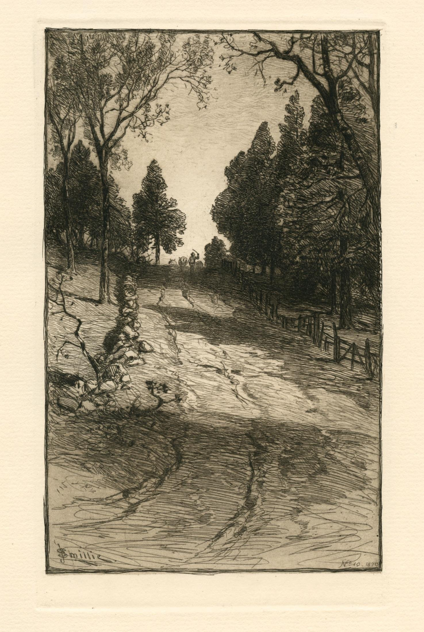 """James D. Smillie original etching """"Up the Hill"""""""
