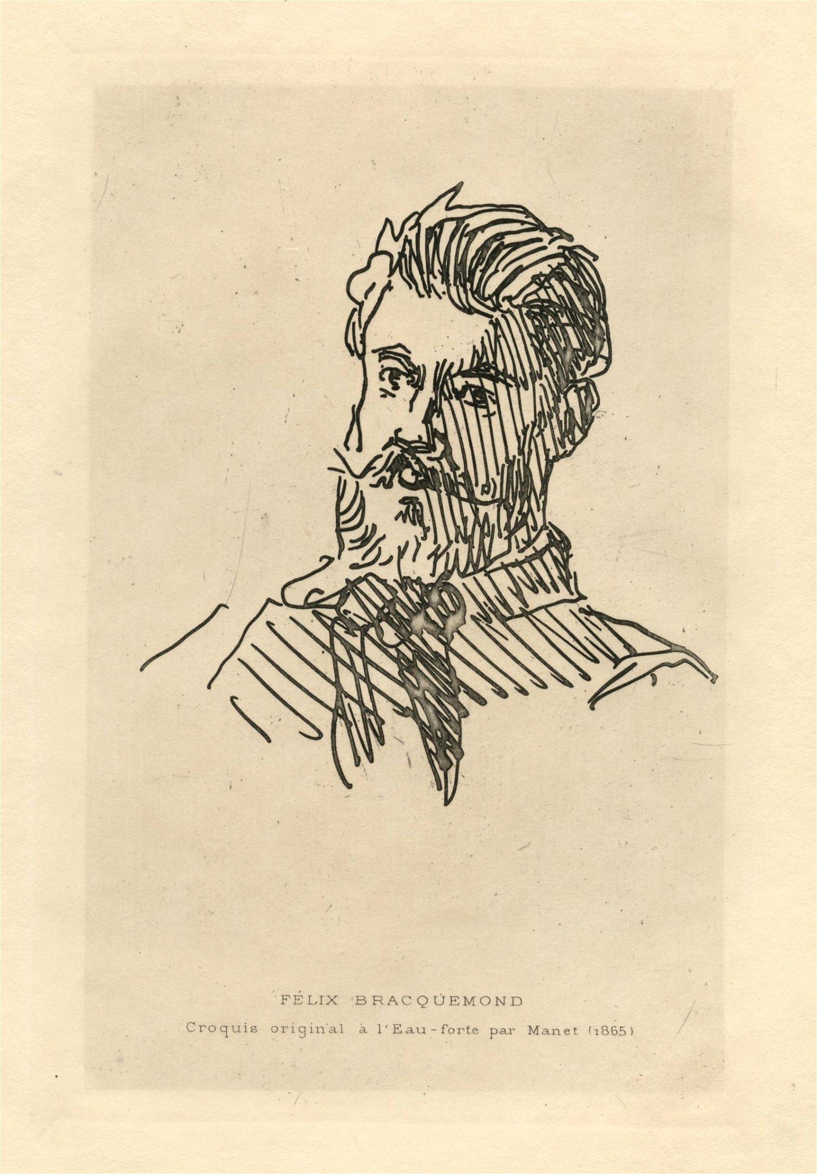 "Edouard Manet original etching ""Portrait of Felix"