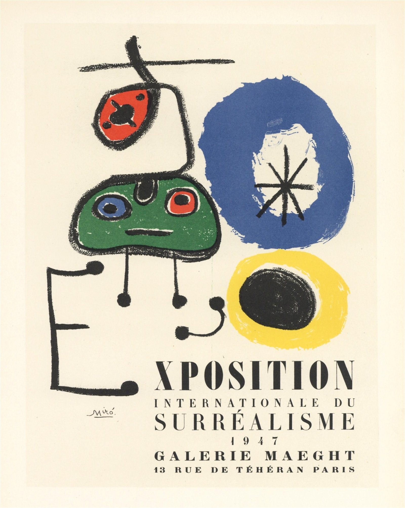 "Joan Miro lithograph poster ""Exposition du Surrealisme"""