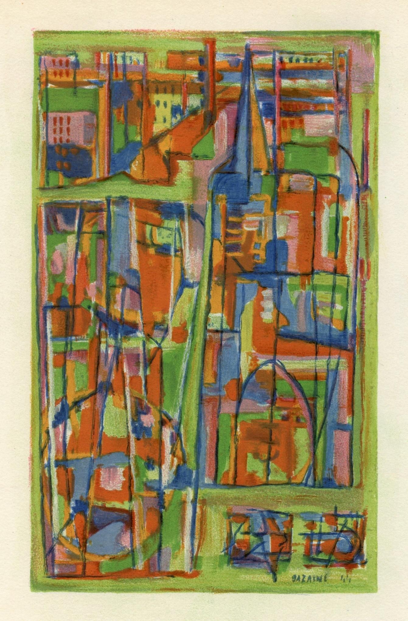 """Jean Bazaine lithograph """"La mariee de banlieue"""""""