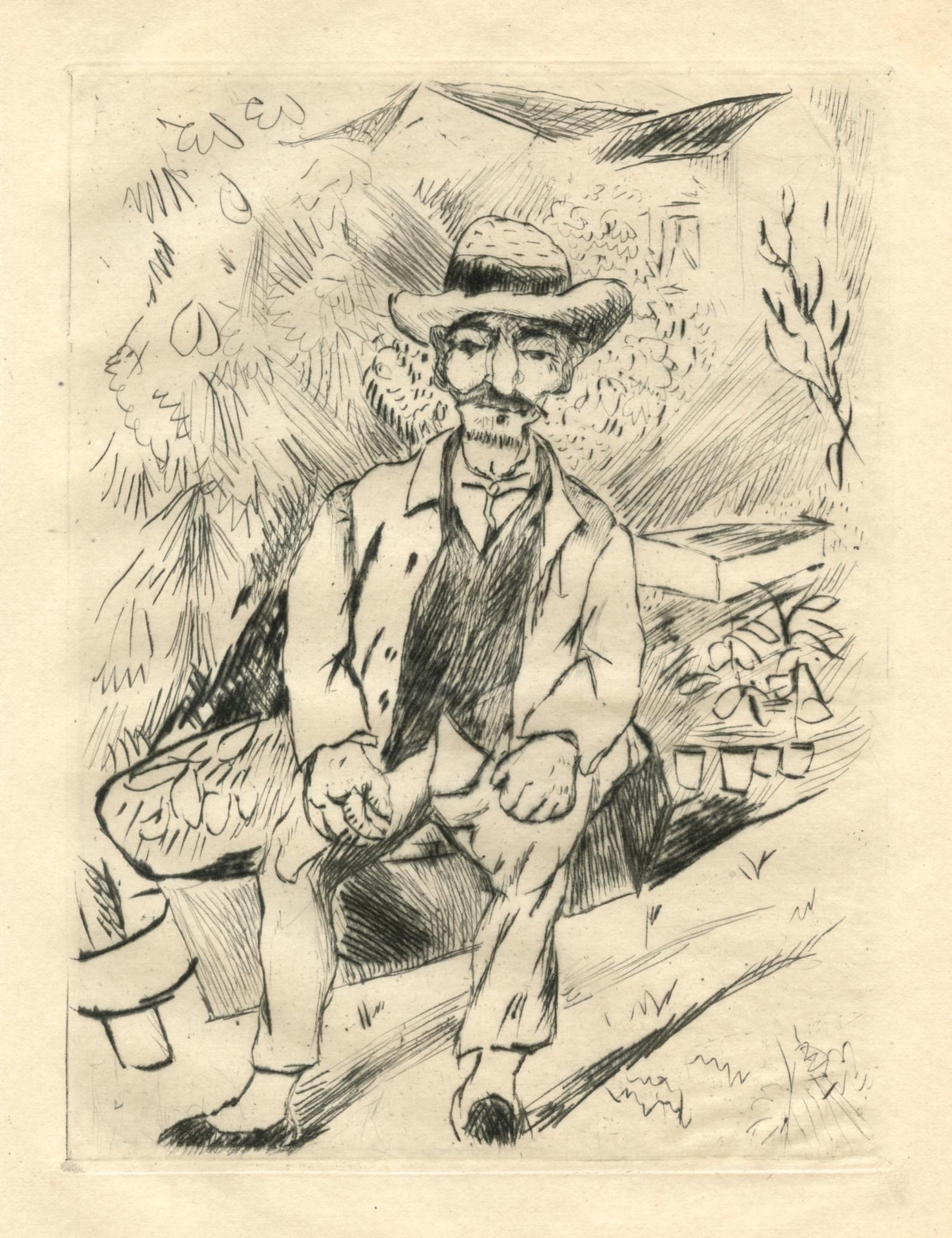 """Rudolf Grossmann """"Der alte Gartner"""" original etching"""