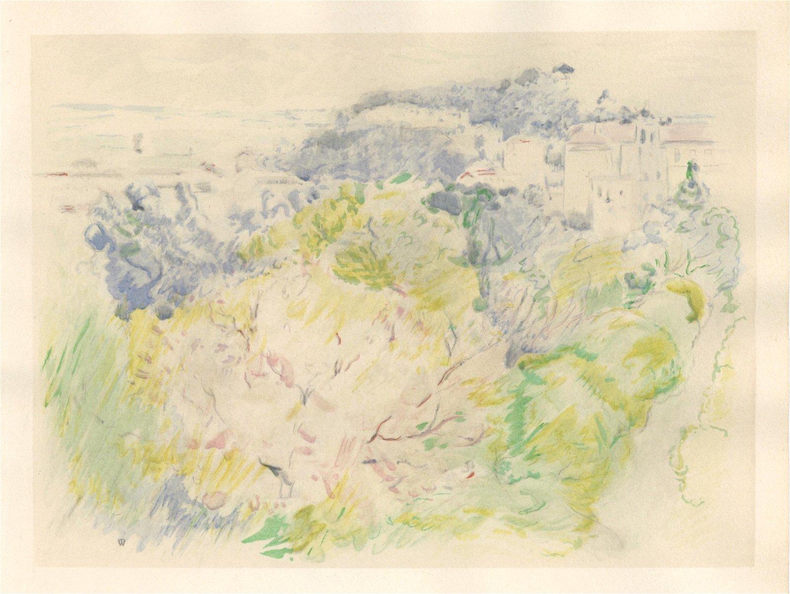 """Berthe Morisot pochoir """"Montagne du Chateau a Nice"""""""