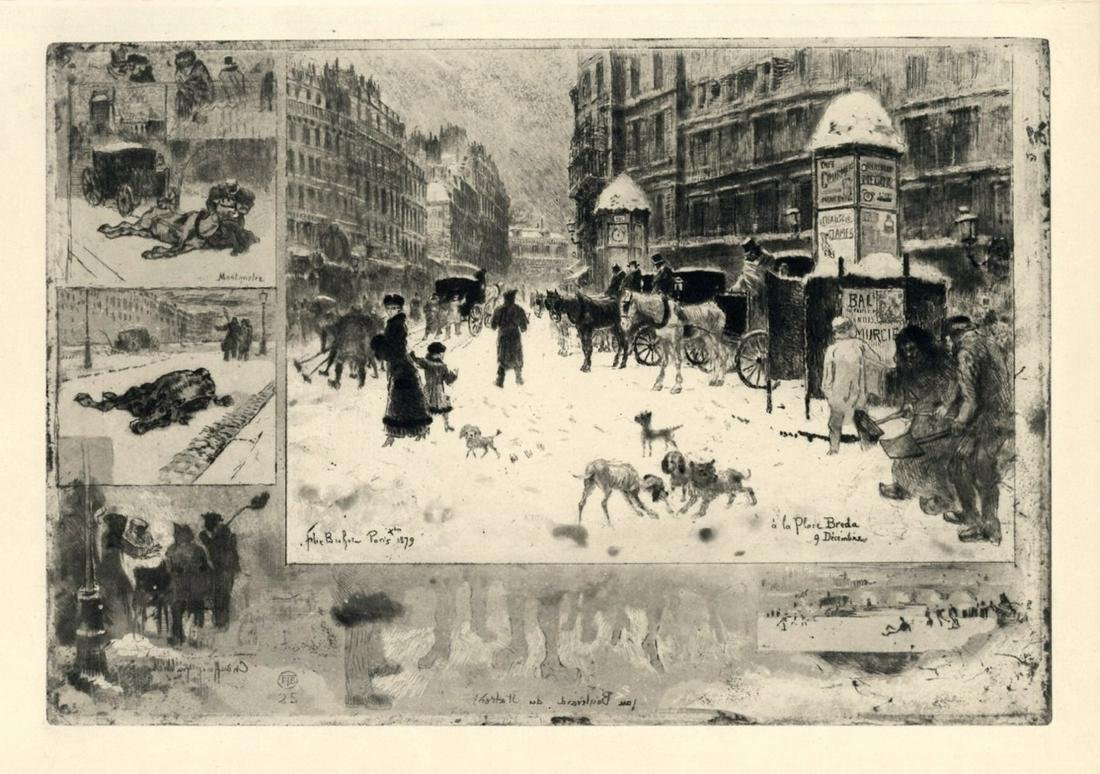 "Felix Buhot ""L'Hiver a Paris"" original etching on japon"