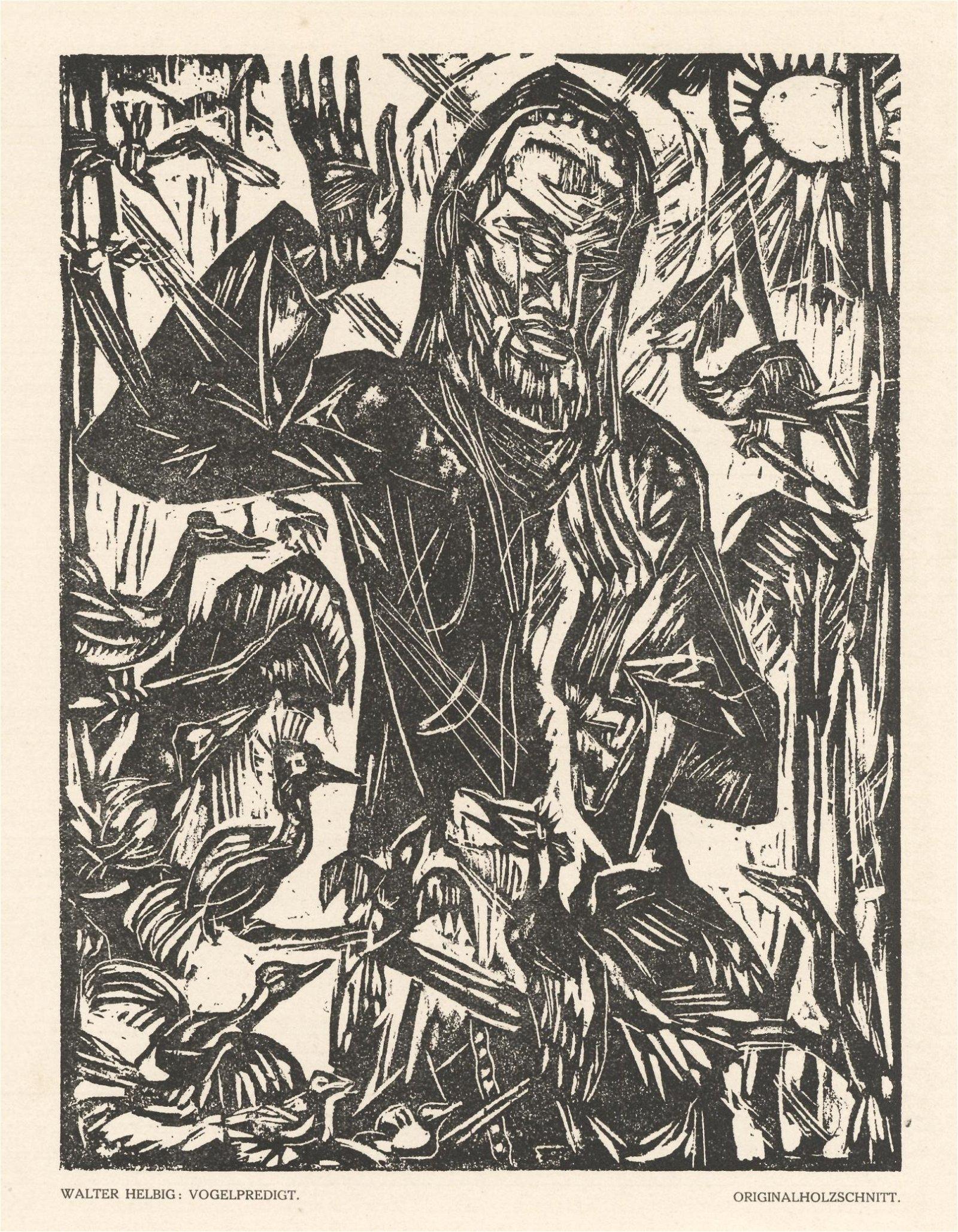 "Walter Helbig original woodcut ""Vogelpredigt"""