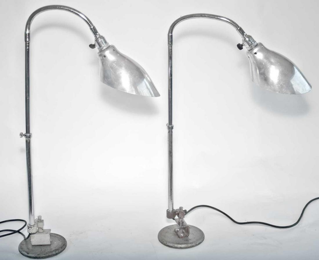 FRENCH INDUSTRIAL MODERNIST pair LAMPS KI-E-KLAIR