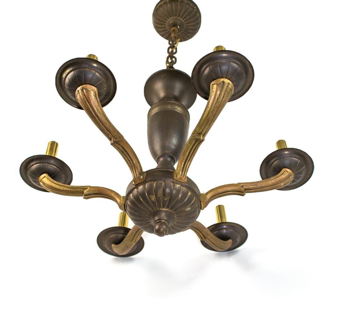 FRENCH Art Deco CHANDELIER Brass and bronze Sue et Mare