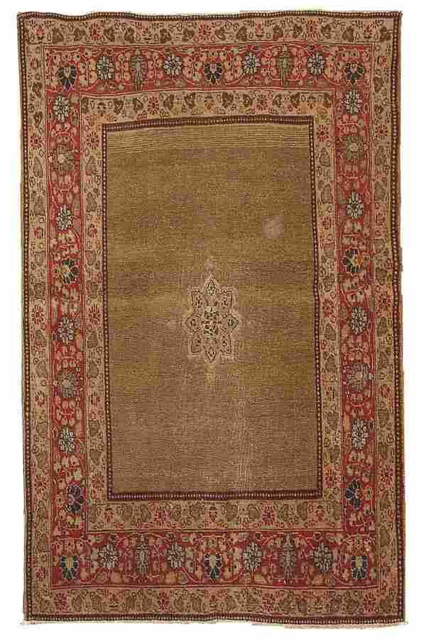 Handmade antique Persian Tabriz rug 4.2' x 5.9' ( 128cm