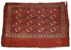 Handmade antique collectible Turkmen Yomud rug 2.11' x