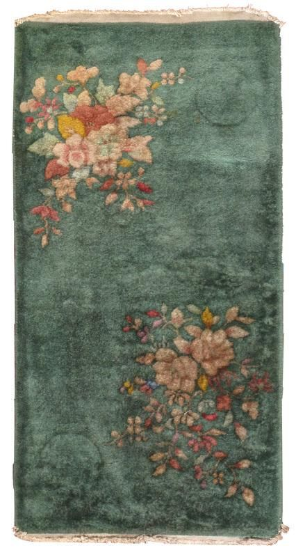 Handmade antique art deco Chinese rug 2' x 3.10' ( 61cm