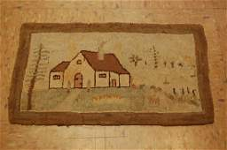 """c1900s ANTIQUE ULTRA RARE GRENFELL HOOKED RUG 11""""x1'"""