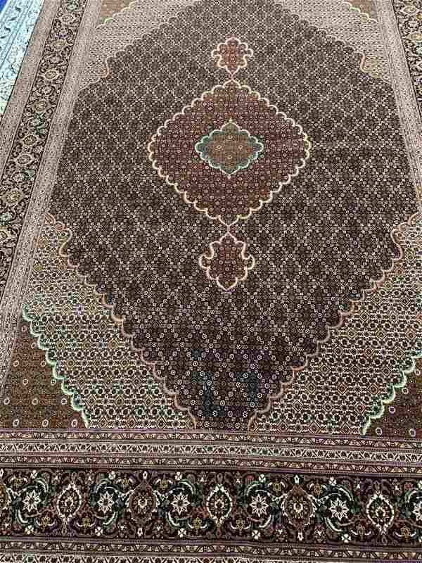 Hand Woven Silk&Wool 50 Raj Tabriz Rug 10x6.8