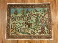 Vintage Persian Pictorial Tabriz Rug