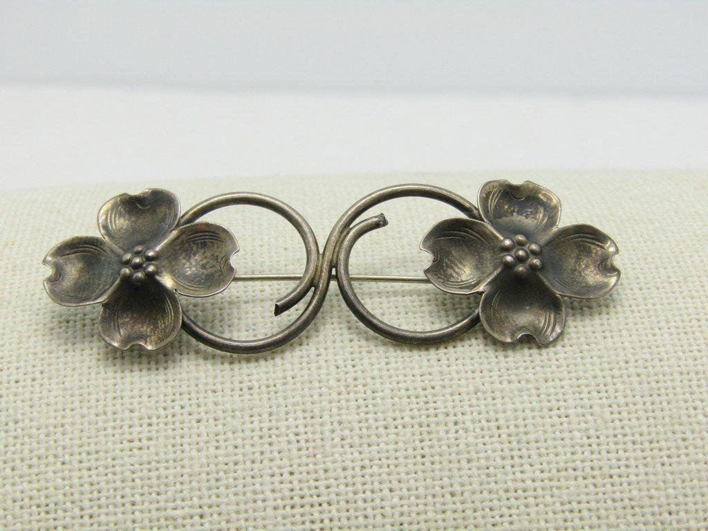 Vintage Sterling Dogwood Brooch, Signed Stuart Nye, 4.7